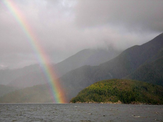 The Great Bear Rainforest: B.C.'s temperate rainforest treasure at the end of a rainbow. Photo credit: Tom Green