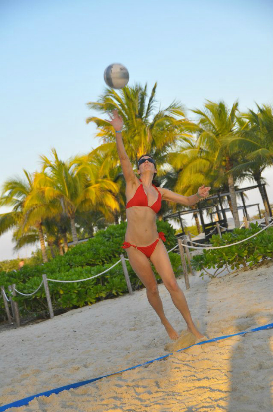 Balance is key: Kim plays volleyball in her spare time.